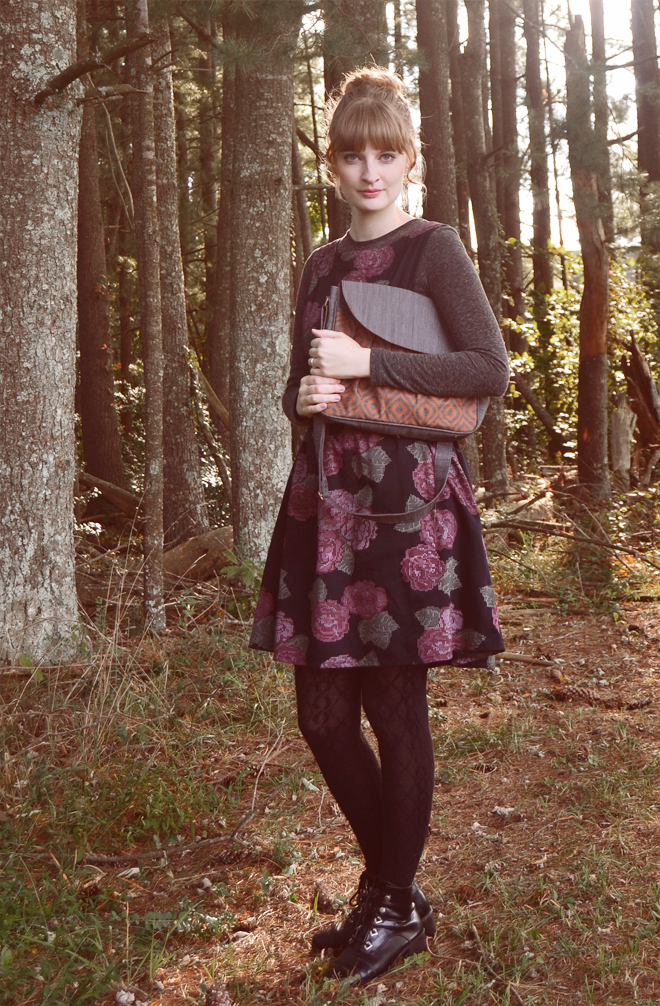 October outfit: dark floral dress, burnt orange and gray bag