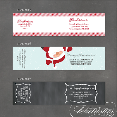 Christmas mailing label, holiday wrap around label