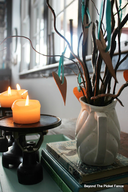 centerpiece, candles, DIY, Fusion Mineral Paint, sticks, http://bec4-beyondthepicketfence.blogspot.com/2016/01/how-to-make-centerpiece.html