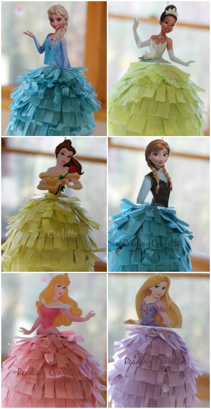 DIY Frozen Or Princess Birthday Pinatas Reading Confetti