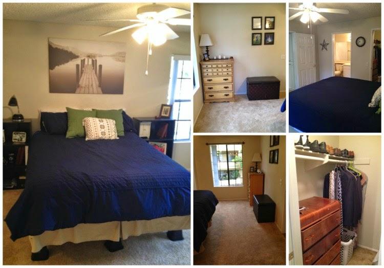 Navy, Green, and Cream Bedroom