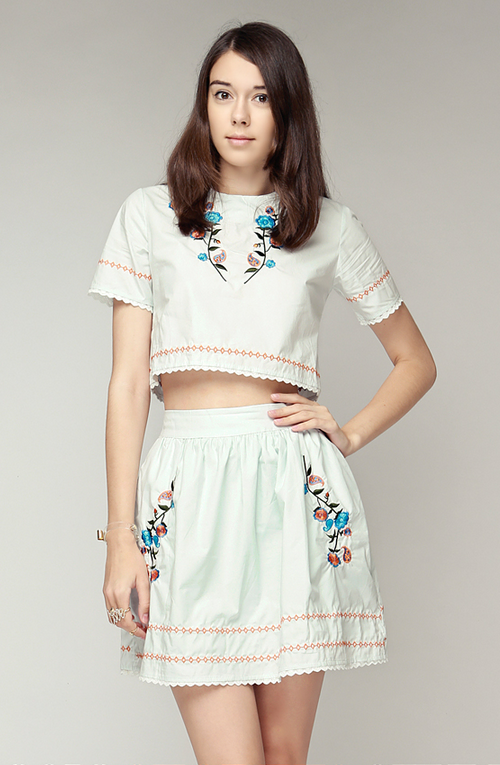 Petit Flower Embroidered Top and Skirt Set
