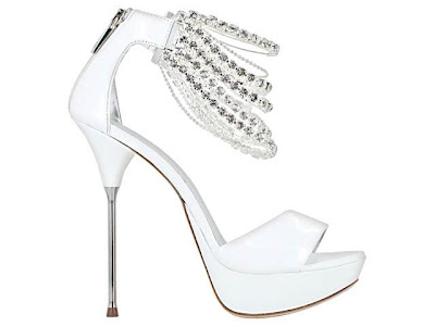white stilettos, crystal shoes, bling heels 