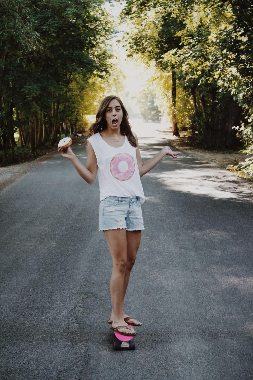 Donut T-shirt, Donut, Girl, Skateboard, Donut Day, Doughnut,