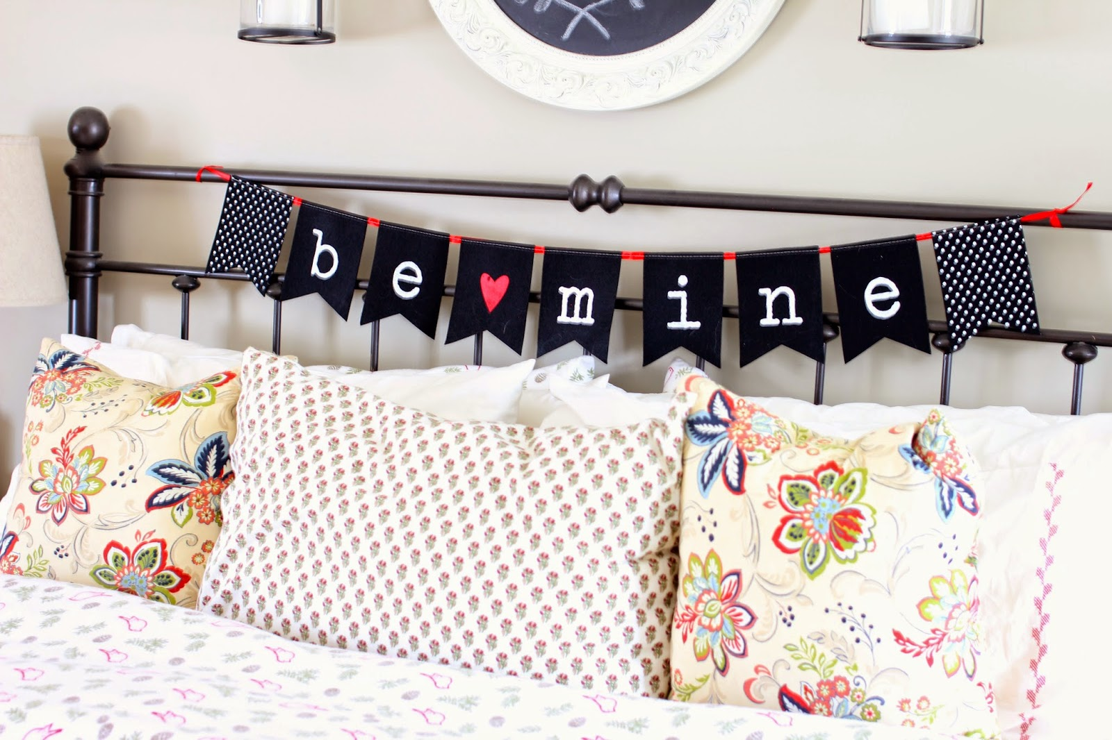 Valentine's Day banner from Target dollar spot in master bedroom-www.goldenboysandme.com