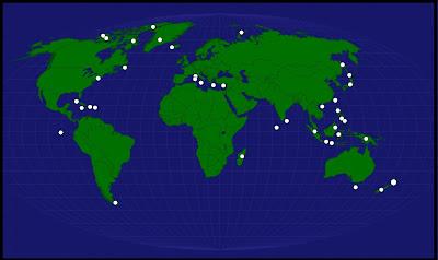Mapa de la ubicacion de las Islas en el mapamundi