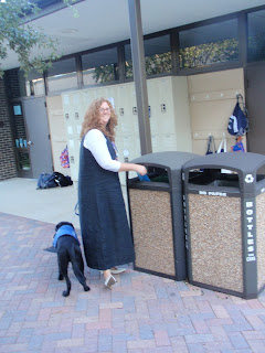 Dropping off our deposit into a safe trash can!