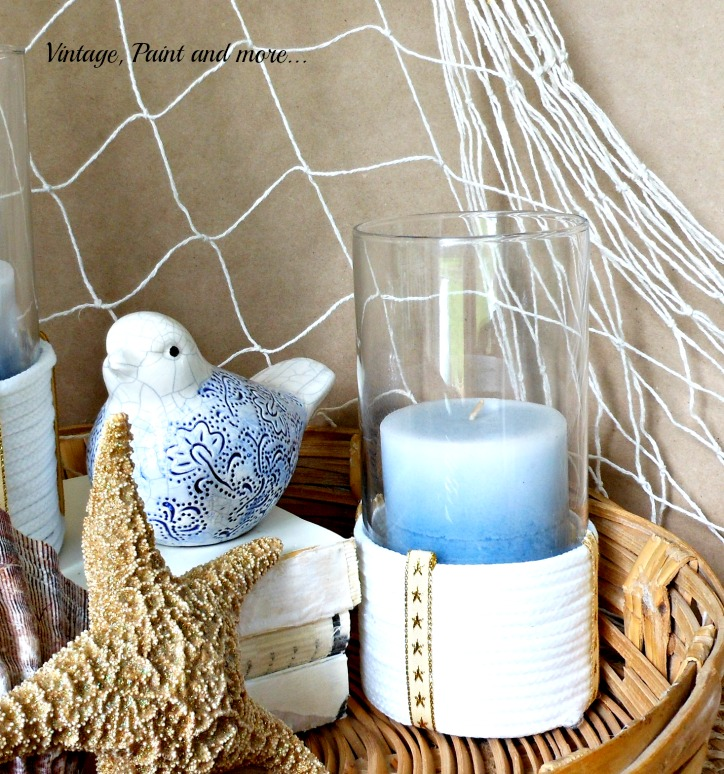 Vintage, Paint and more... beach decor diy with rope wrapped candle holders