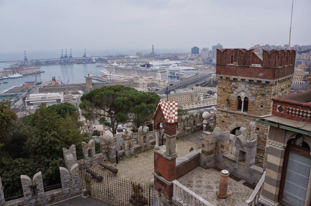 View to harbour from Albertis Castle (Castell d'Albertis) in Genoa Italy.