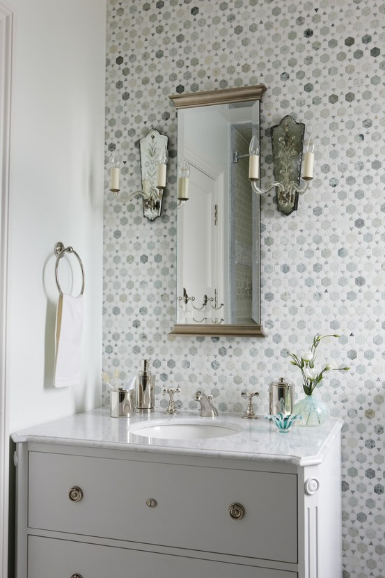 Grey tile bathroom ideas home decorating excellence for Gray bathroom wallpaper