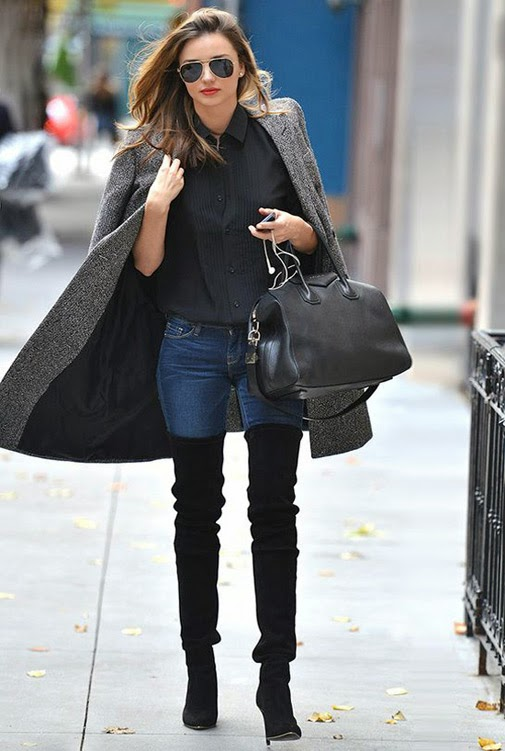 Ulična moda: kako cure u Zagrebu nose čizme preko koljena. Winter chic boots style: how to wear over the knee boots - street fashion inspirations, Miranda Kerr