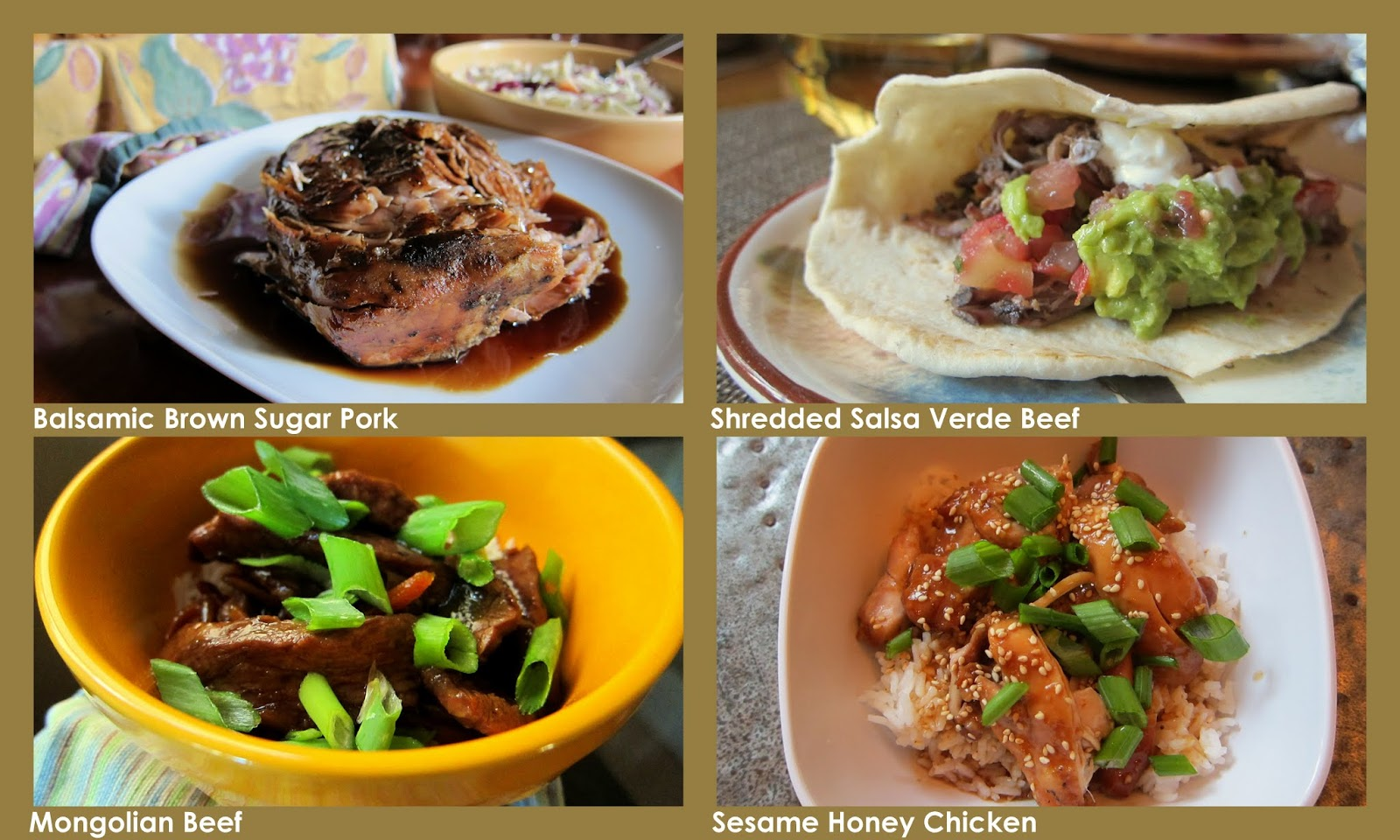 Crock pot pork, beef and chicken family friendly dinners