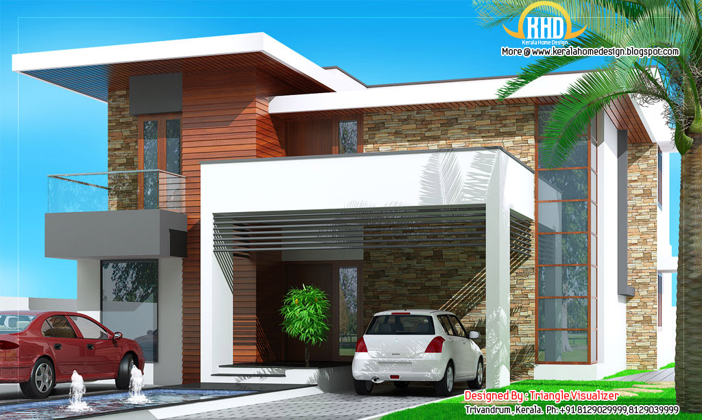 Modern house elevation 2831 sq ft kerala home design for Contemporary building elevation