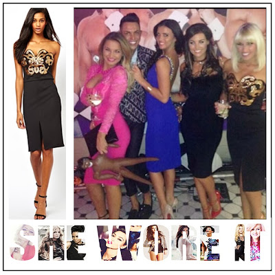 The Only Way is Vegas, Billie Faiers, Lipsy, ASOS, Black, Strapless, Knee Length, Pencil Dress, Gold, Sequin, Bead, Embellishment, TOWIE, The Only Way Is Essex,