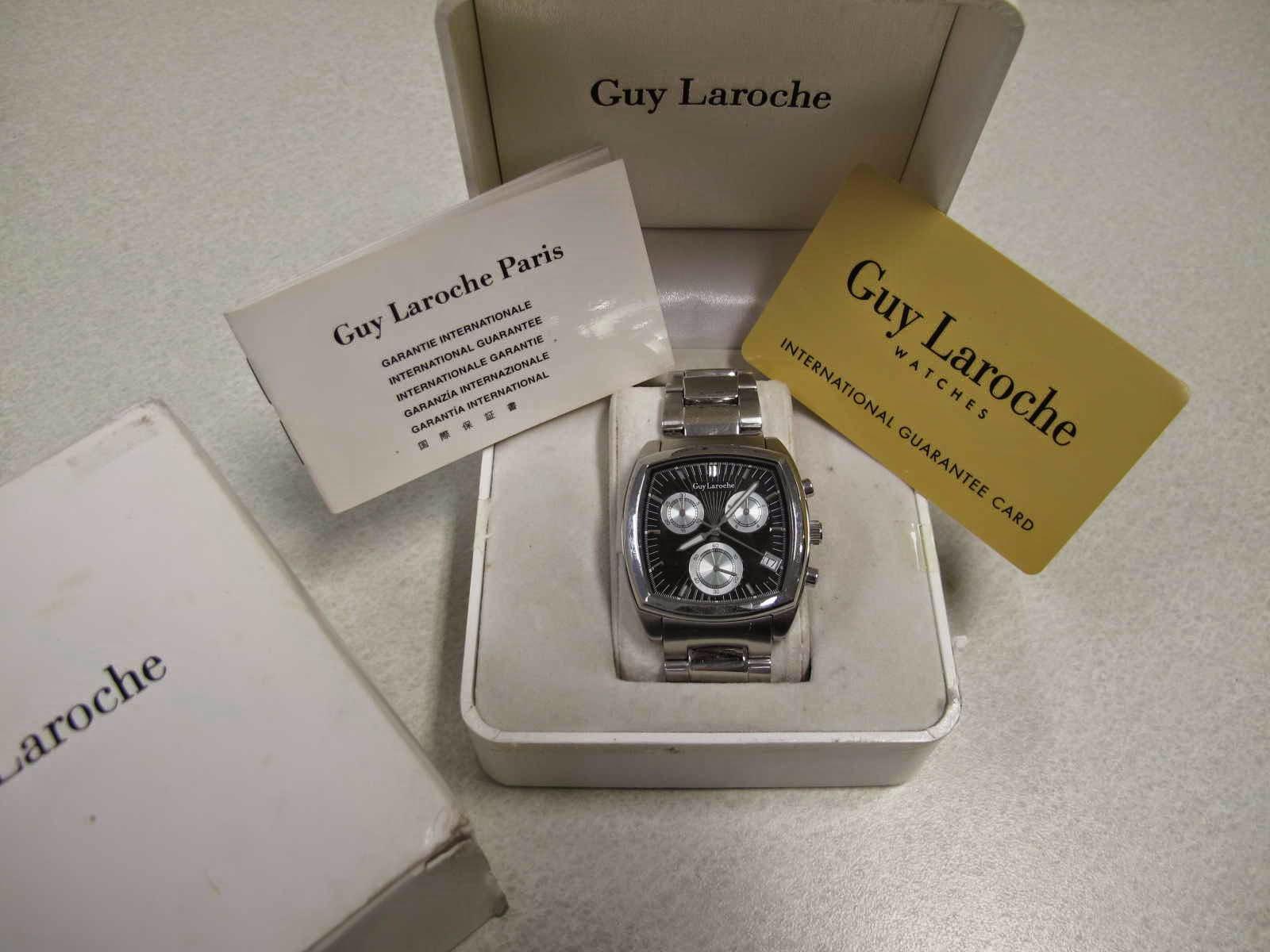 Lengkap dengan box bawaan Guy Laroche manual dan sertifikatnya Cocok untuk Anda yang sedang mencari jam tangan Quartz Chronograph dengan bentuk case