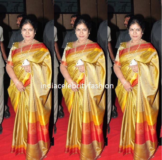 Surekha Chiranjeevi in Gold saree at Bruce lee Audio launch