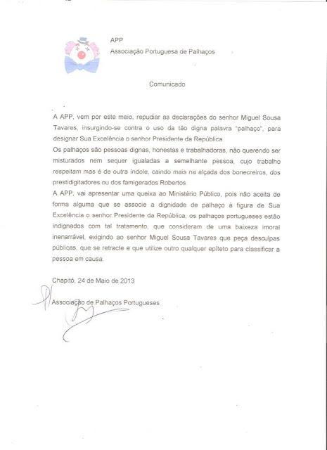 Associação de Palhaços Portugueses, Miguel Sousa Tavares, Cavaco Silva, Associação Portuguesa de Palhaços