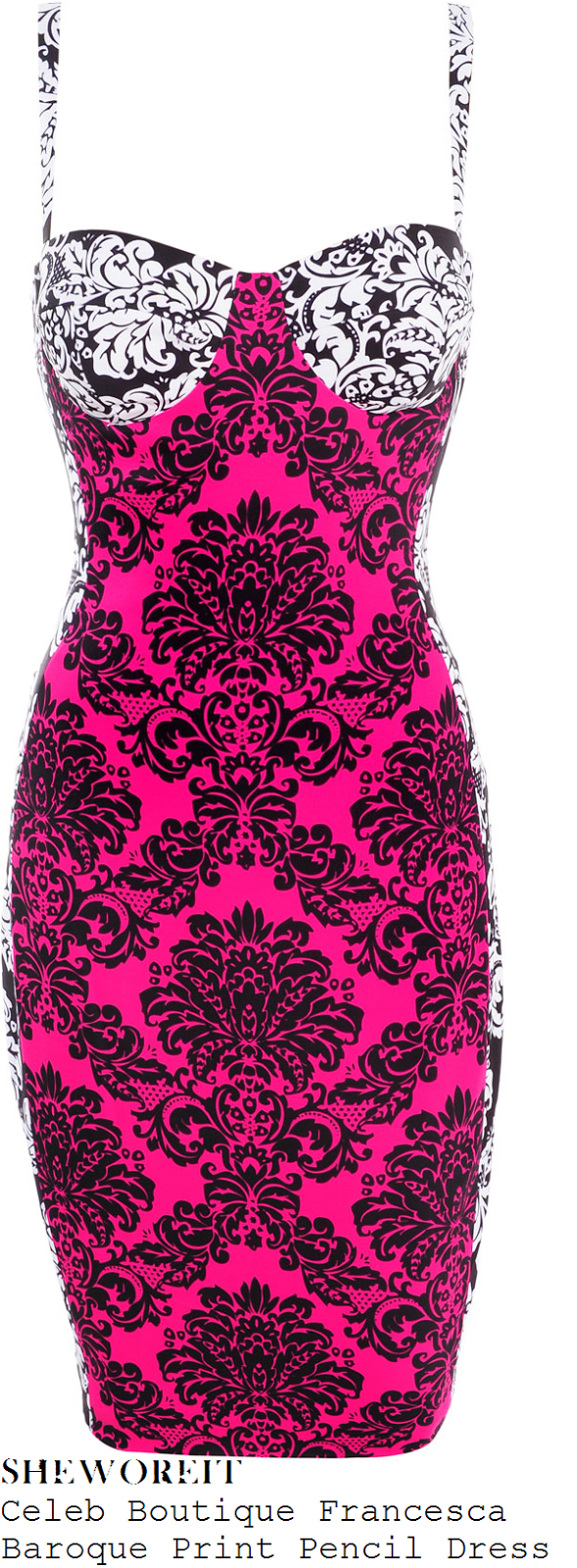 vicky-pattison-bright-pink-and-white-black-baroque-sleeveless-bodycon-pencil-dress
