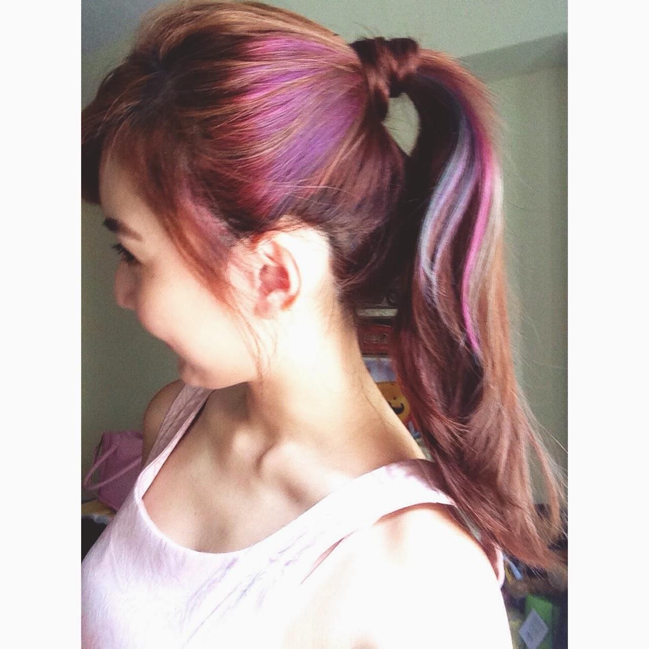 Purple Lowlights For Dark Hair From blueish-purple to