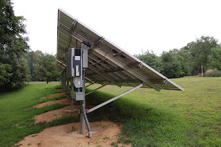 Side view of the solar array showing inverters