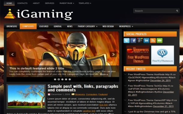 Free Wordpress Online Games Gaming Orangte Black Jquery Blog Web 2.0 Theme ...