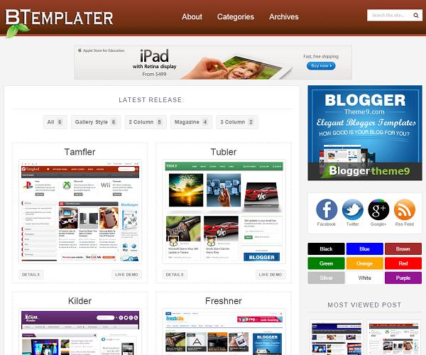 Btemplater Theme Blogspot Responsive cho trang chia sẻ