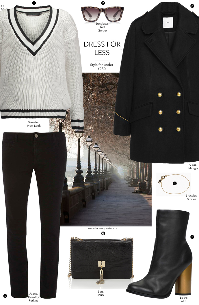 All black weekend casual outfit inspiration / another way to style denim & pea coat / via www.look-a-porter.com