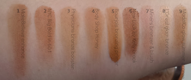 Bronzer swatches down my arm