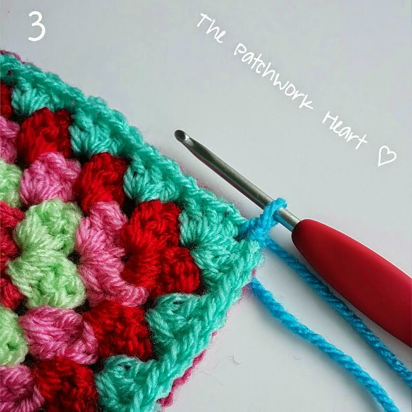 Crocheting Two Ends Together : ... Heart: Joining Squares Method 1 - Crochet together from the front