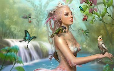Hada del agua rodeada de mariposas y pajaritos