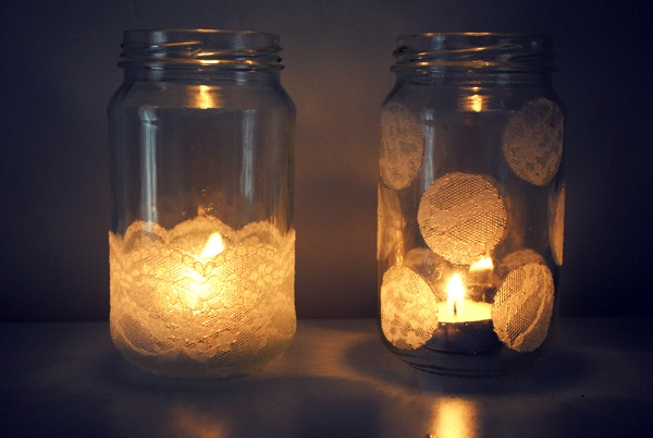 Lace Jar Candle Holders