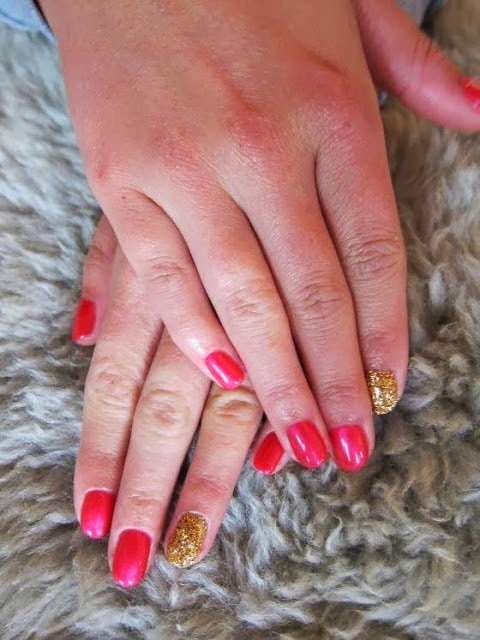 Gel-color LED polishes gel Manicure in custom mix candy apple red with gold glitz feats