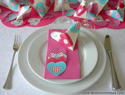decoracion mesas cumpleaños corazones servilletas