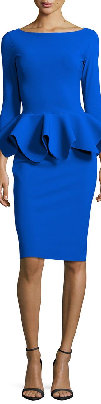 La Petite Robe di Chiara Boni 3/4-Sleeve Peplum Cocktail Dress 938 Blue Klien