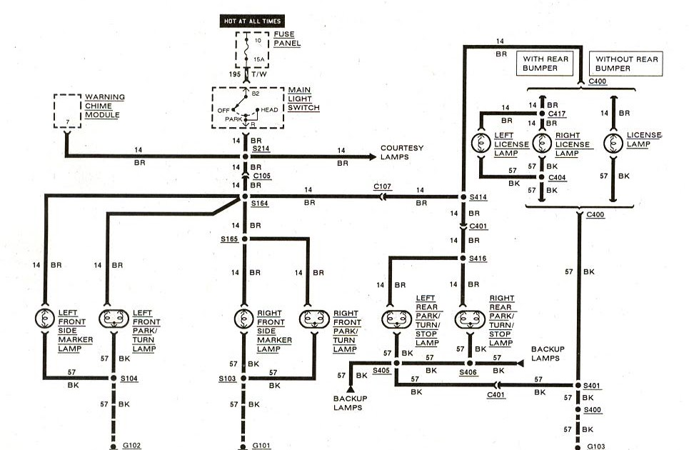 rangerDiagram_Exteriorlights_1983to1989 free auto wiring diagram 1983 1989 ford ranger exterior lights 1989 ford ranger wiring diagram at soozxer.org
