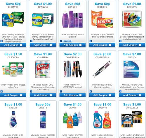 P&G Brandsaver has updated the Simply Frugal SmartSource coupon page with new coupons! These coupons are hosted by SmartSource, so there is a limit of 2 prints per coupon. These coupons are hosted by SmartSource, so there is a limit of 2 prints per coupon.