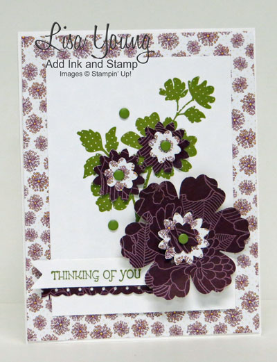 Stampin' Up! Gifts of Kindness stamp set and flowers made with Boho Blossoms punch and Blossoms Punch and designer series paper. Handmade thinking of you card. Details on Add Ink and Stamp blog.