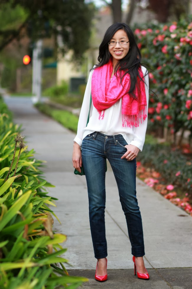 color blocking outfit idea trend denim