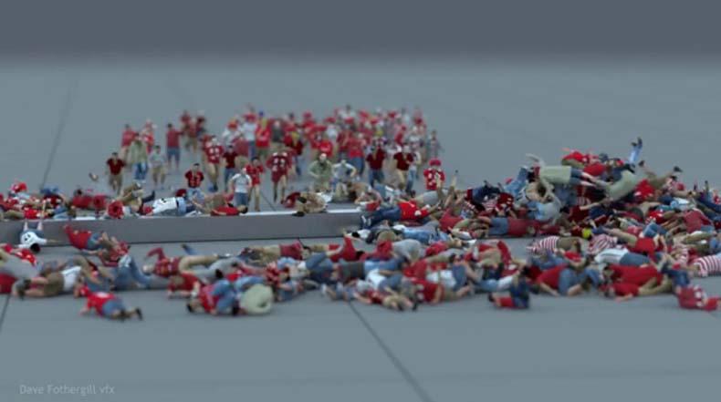 Cientos de personas CGI corriendo contra una valla de metal rotando