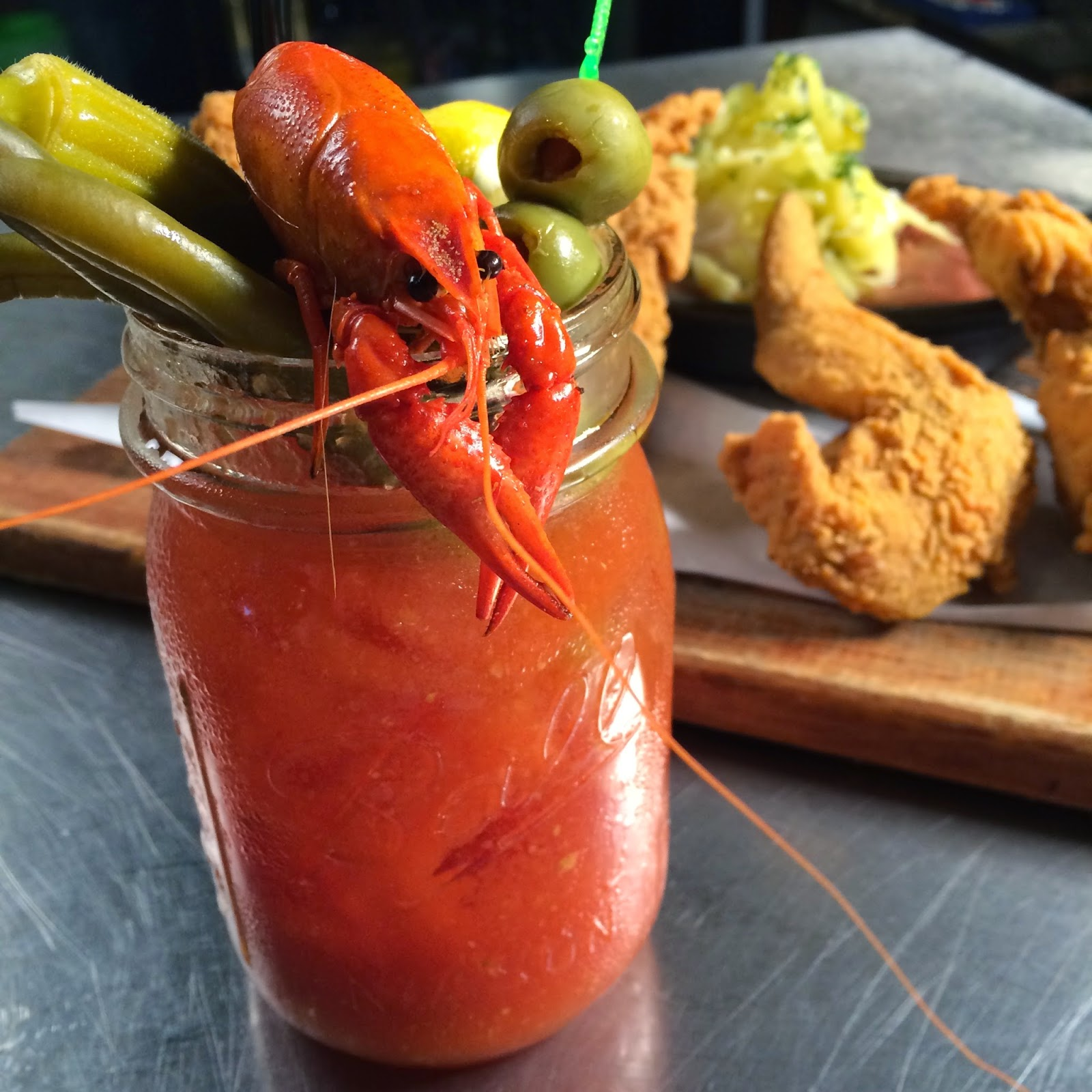 Chef Sam prepared this beautiful and delicious Bloody Mary while Chef Cory made one of my favorites: fried rabbit with red beans and rice.