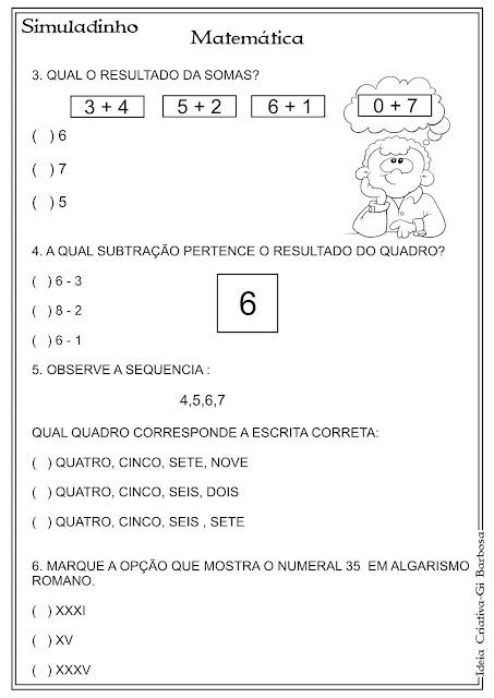 Simuladinho Português e Matemática 1° Ano