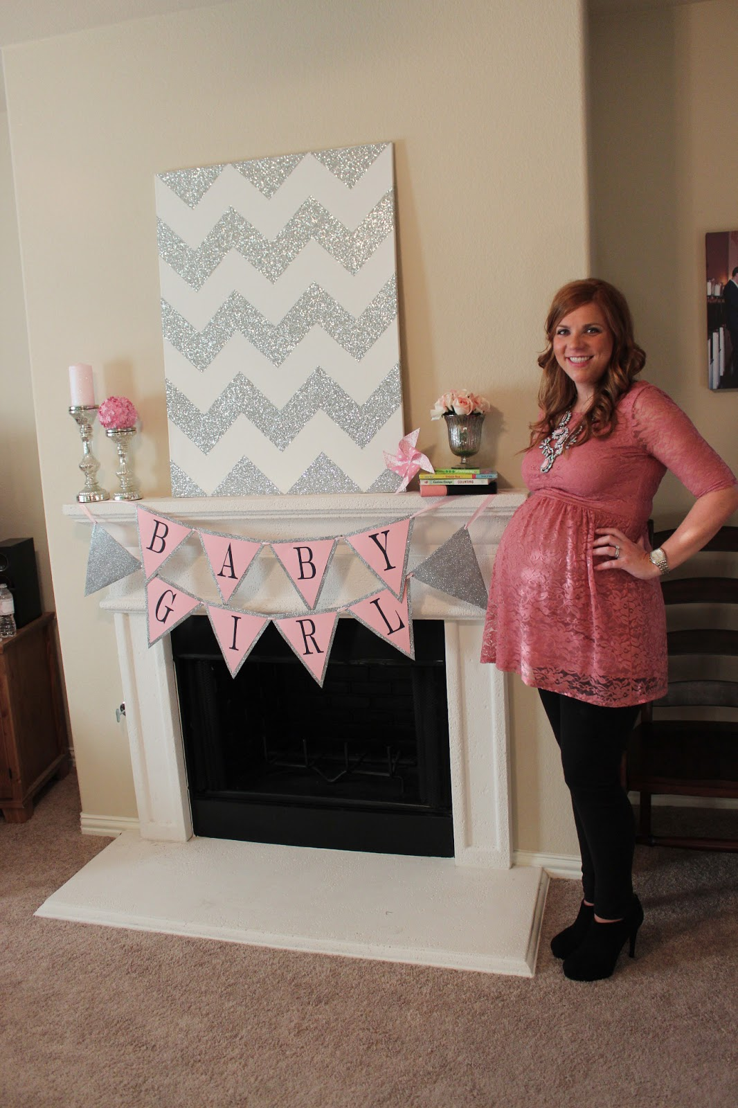the theme of the shower was pink and grey chevron