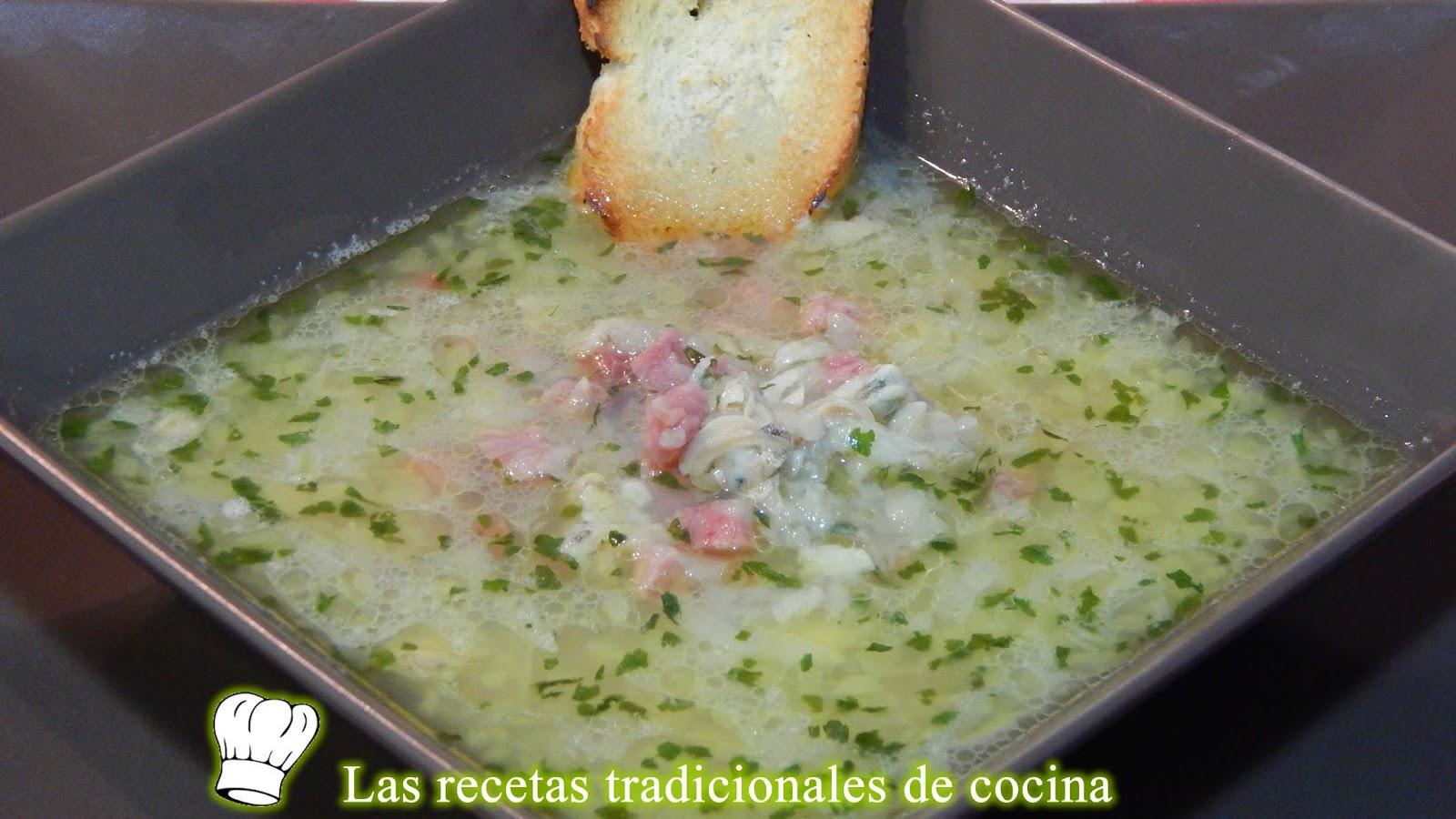 Receta de la sopa de chirlas