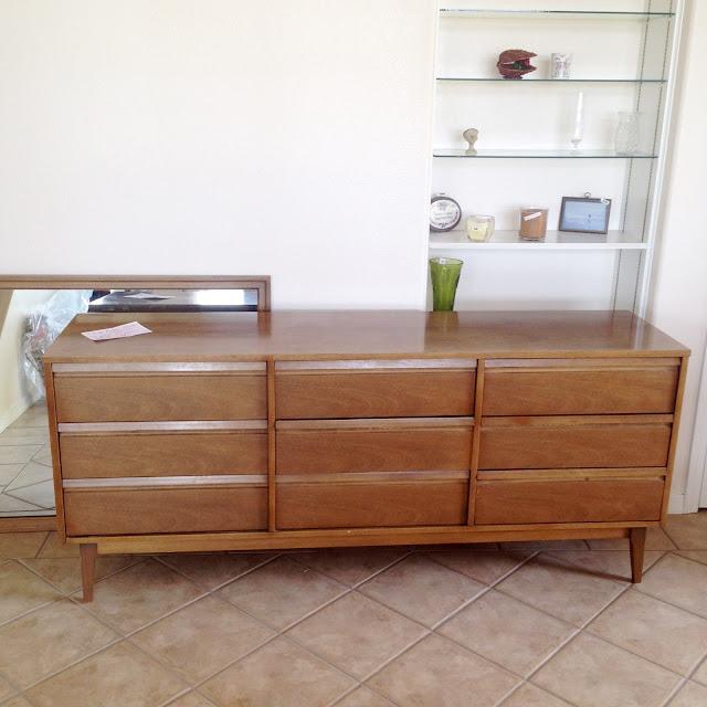 Vintage pecan mid century dresser