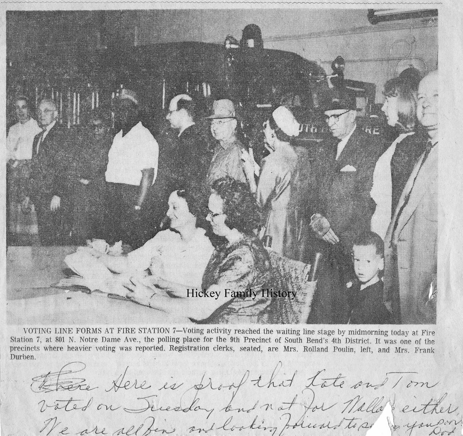 street in south bend indiana from 1917 until the 1960s the newspaper clipping below shows them standing in line to vote sometime in the early 1960s