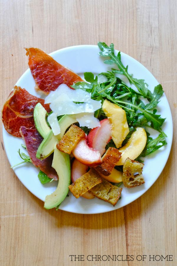 Peach, parmesan, prosciutto, and avocado salad - outrageously easy and delicious!