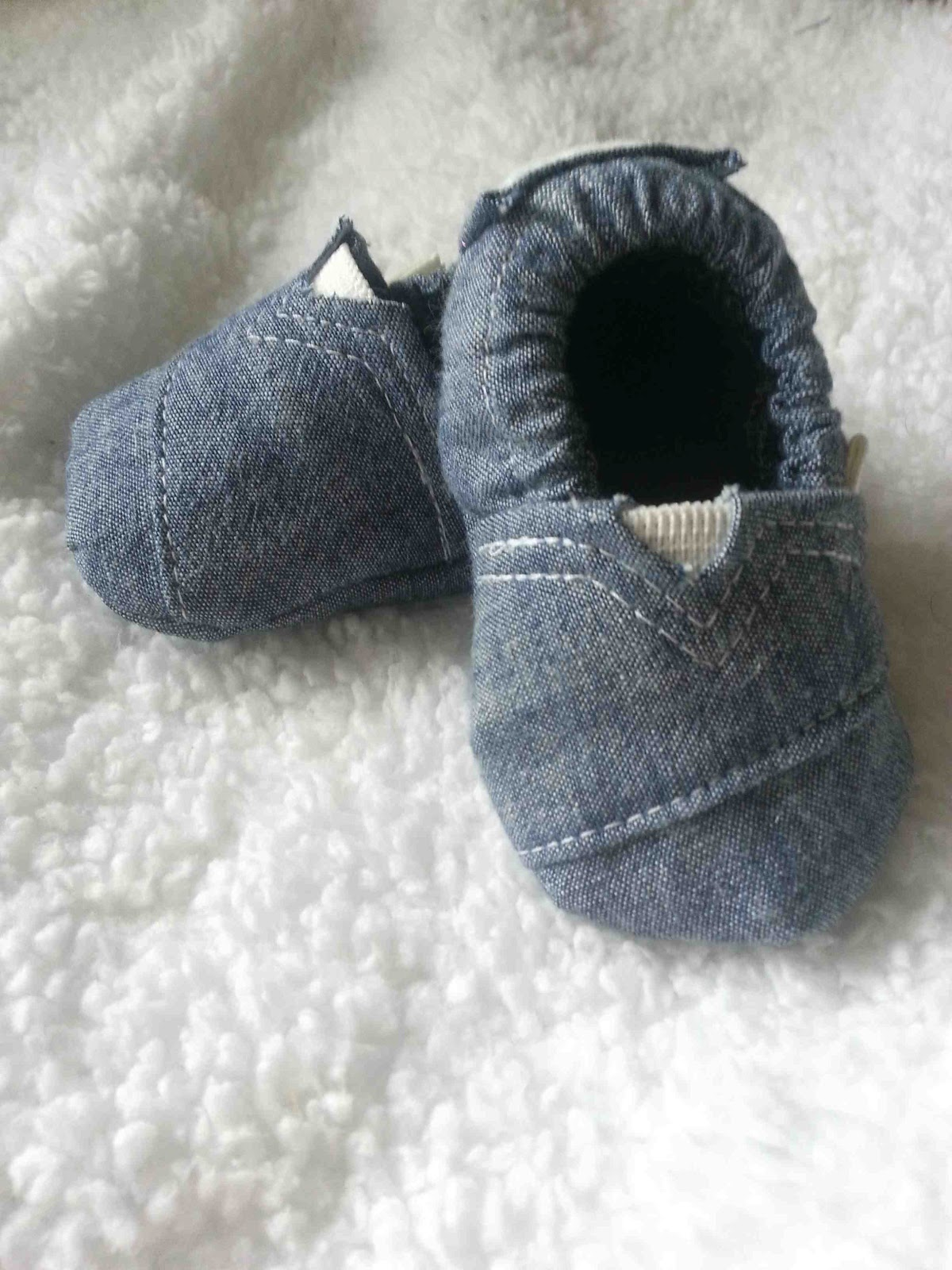 """Made by Me d with you Upcycled Chambray Baby """"Toms"""""""