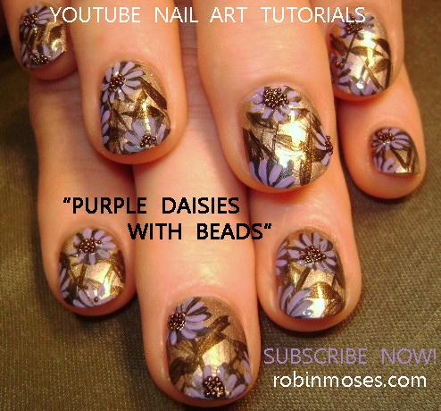 Blue Flower Nail Art Design Purple Hippie Rainbow Pink Daisy Sprintime