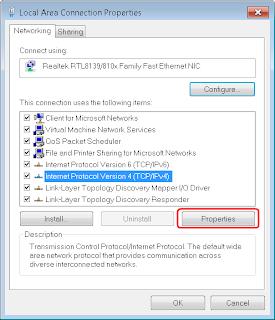 IP V6 properties in control panel