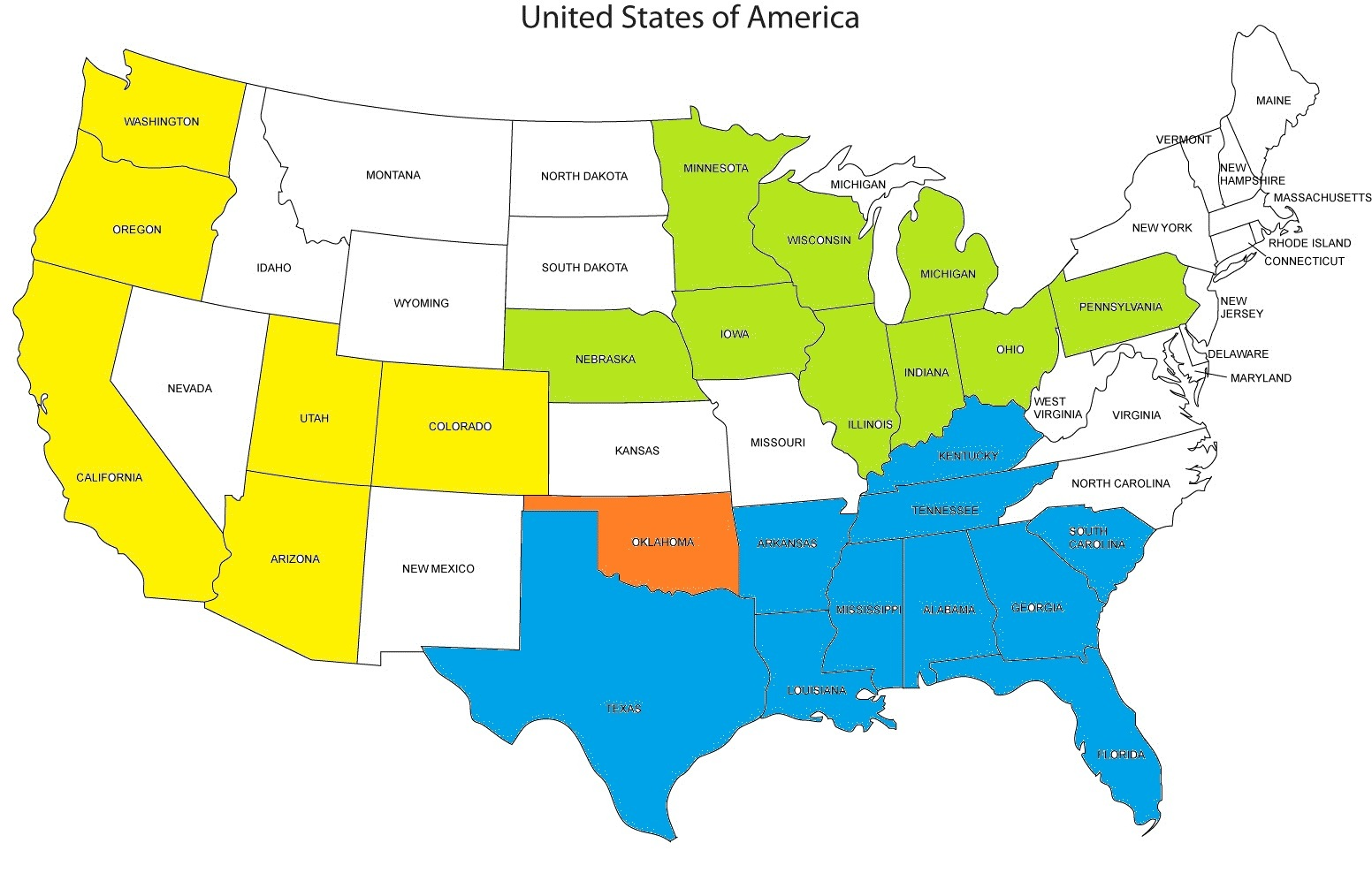 the us map below is color coded to illustrate the three largest conferences to oklahoma in blue the sec green big 10 yellow pac 12 and oklahoma is